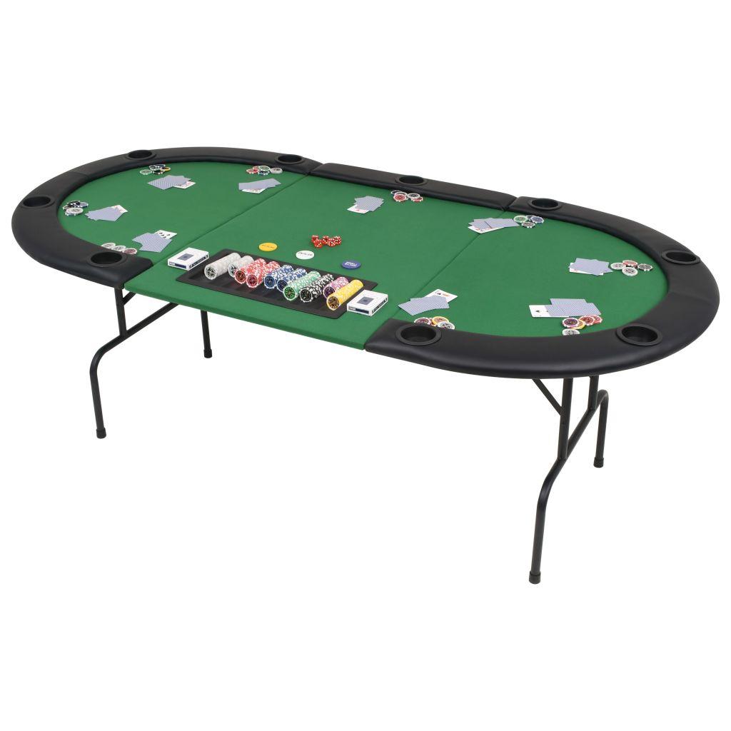 vidaXL Pokrový stôl pre 9 hráčov, 3-dielny, sklápací, oválny, zelený