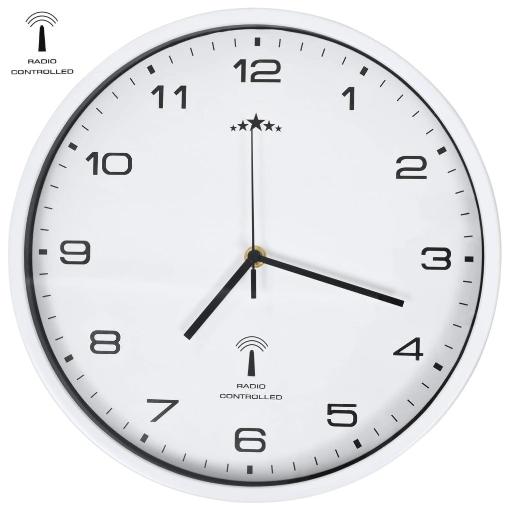 vidaXL Rádiom ovládané nástenné hodiny s pohonom Quartz biele 31 cm