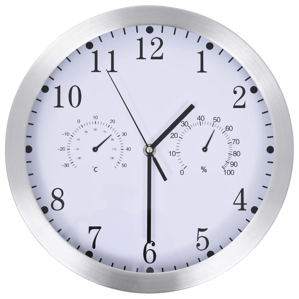 vidaXL Nástenné hodiny s pohonom Quartz, vlhkomer+ teplomer,biele 30cm