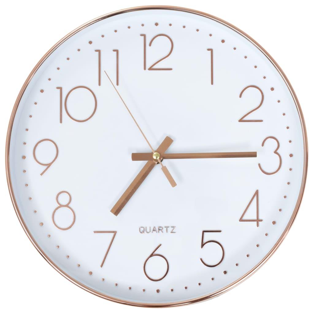 vidaXL Nástenné hodiny 30 cm ružovo-zlaté