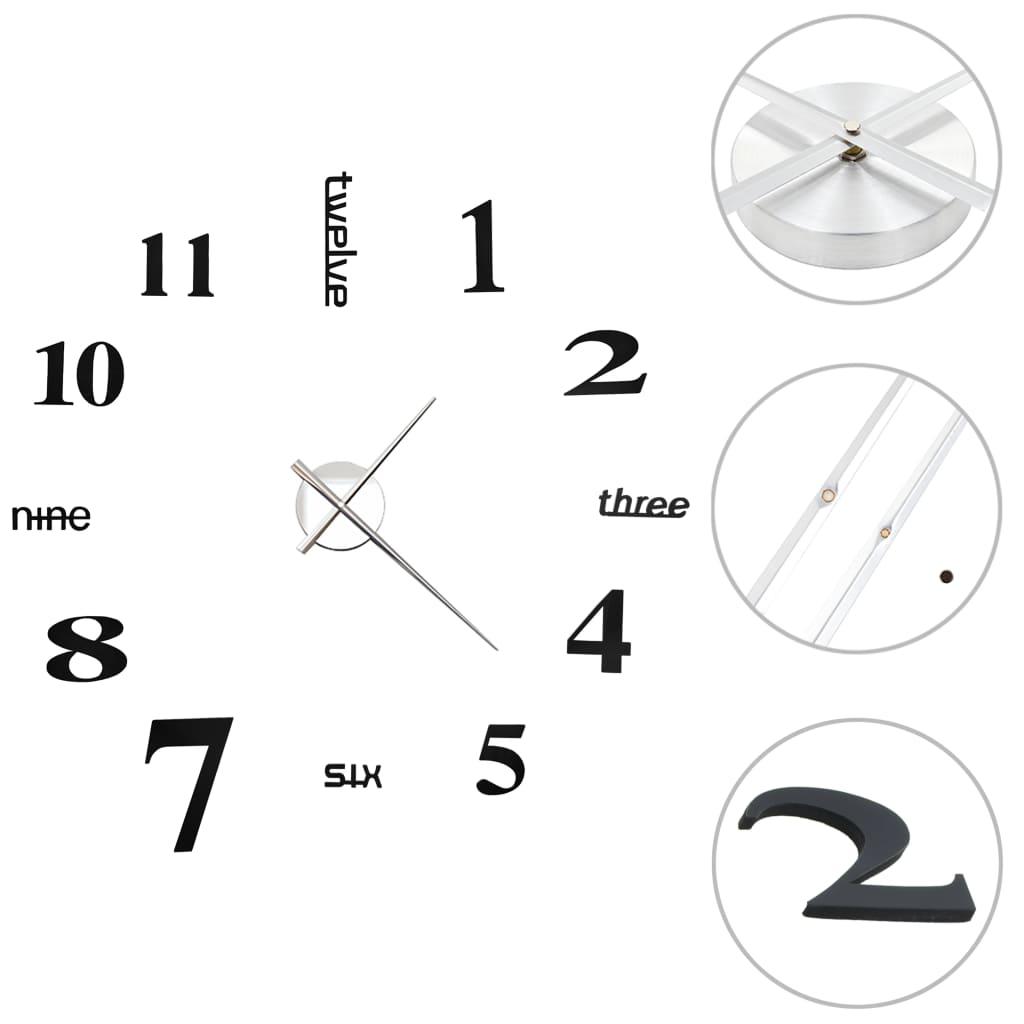 vidaXL 3D nástenné hodiny s moderným dizajnom čierne 100 cm XXL