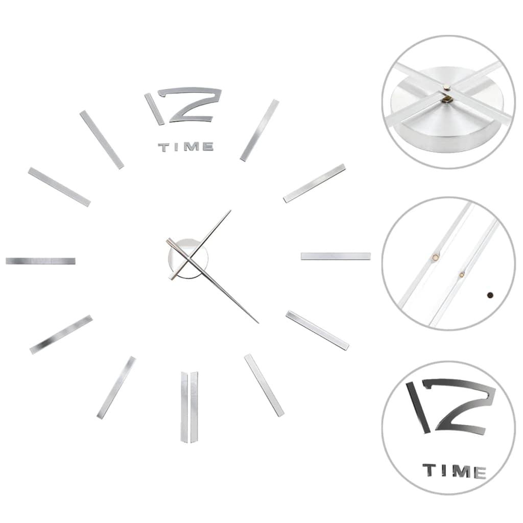 vidaXL 3D nástenné hodiny s moderným dizajnom 100 cm XXL strieborné