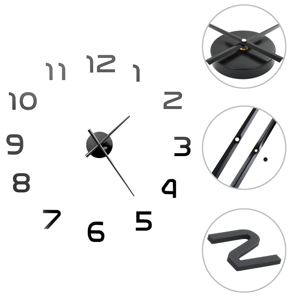 vidaXL 3D nástenné hodiny s moderným dizajnom 100 cm XXL čierne
