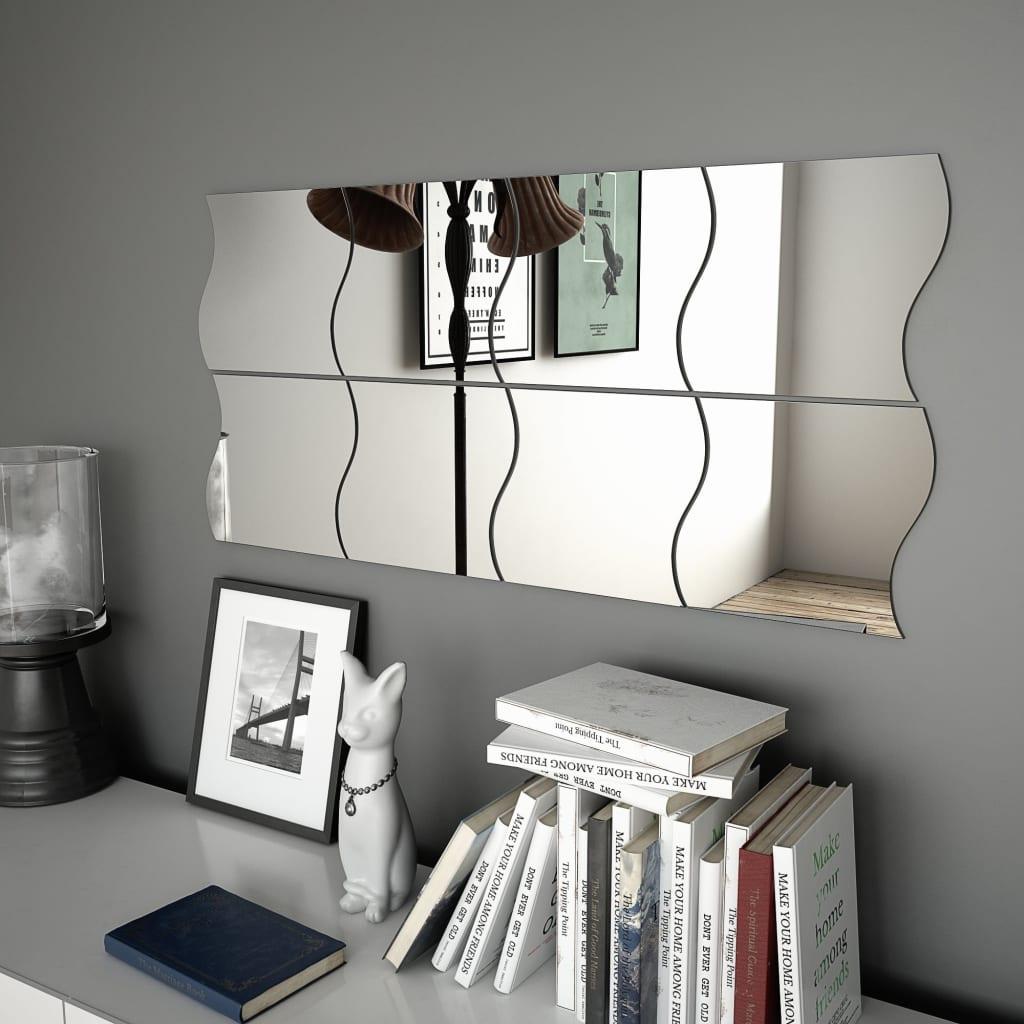 vidaXL Nástenné zrkadlá 8 ks 20x20 cm zvlnený dizajn sklenené