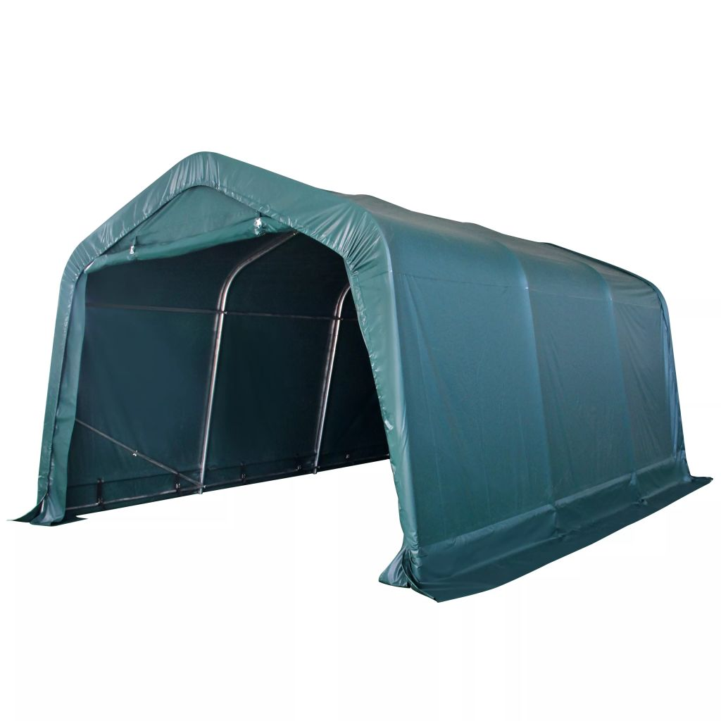 vidaXL Prenosný stan pre hospodárske zvieratá, PVC, 3,3x4,8 m, tmavozelený