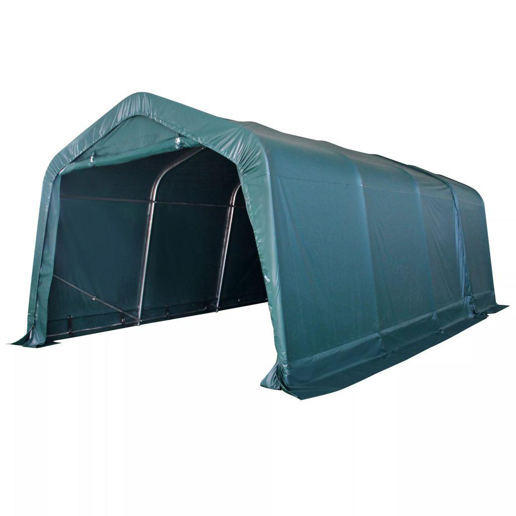 vidaXL Prenosný stan pre hospodárske zvieratá, PVC, 3,3x6,4 m, tmavozelený