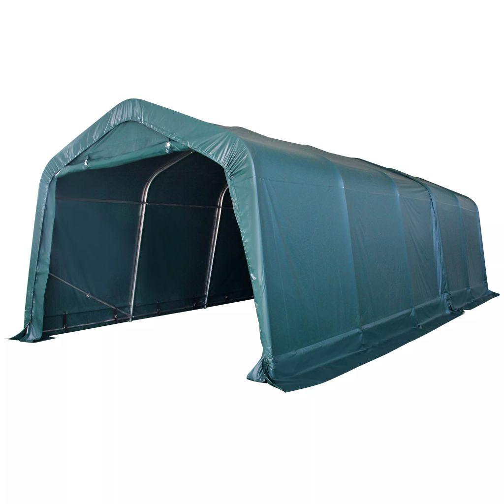 vidaXL Prenosný stan pre hospodárske zvieratá, PVC 3,3x8 m,tmavozelený