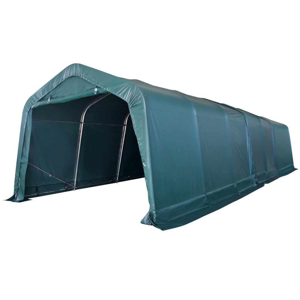 vidaXL Prenosný stan pre hospodárske zvieratá, PVC, 3,3x9,6 m, tmavozelený