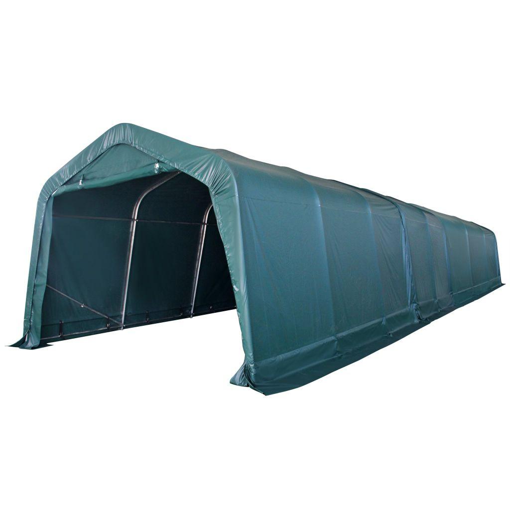 vidaXL Prenosný stan pre hospodárske zvieratá, PVC, 3,3x12,8 m, tmavozelený
