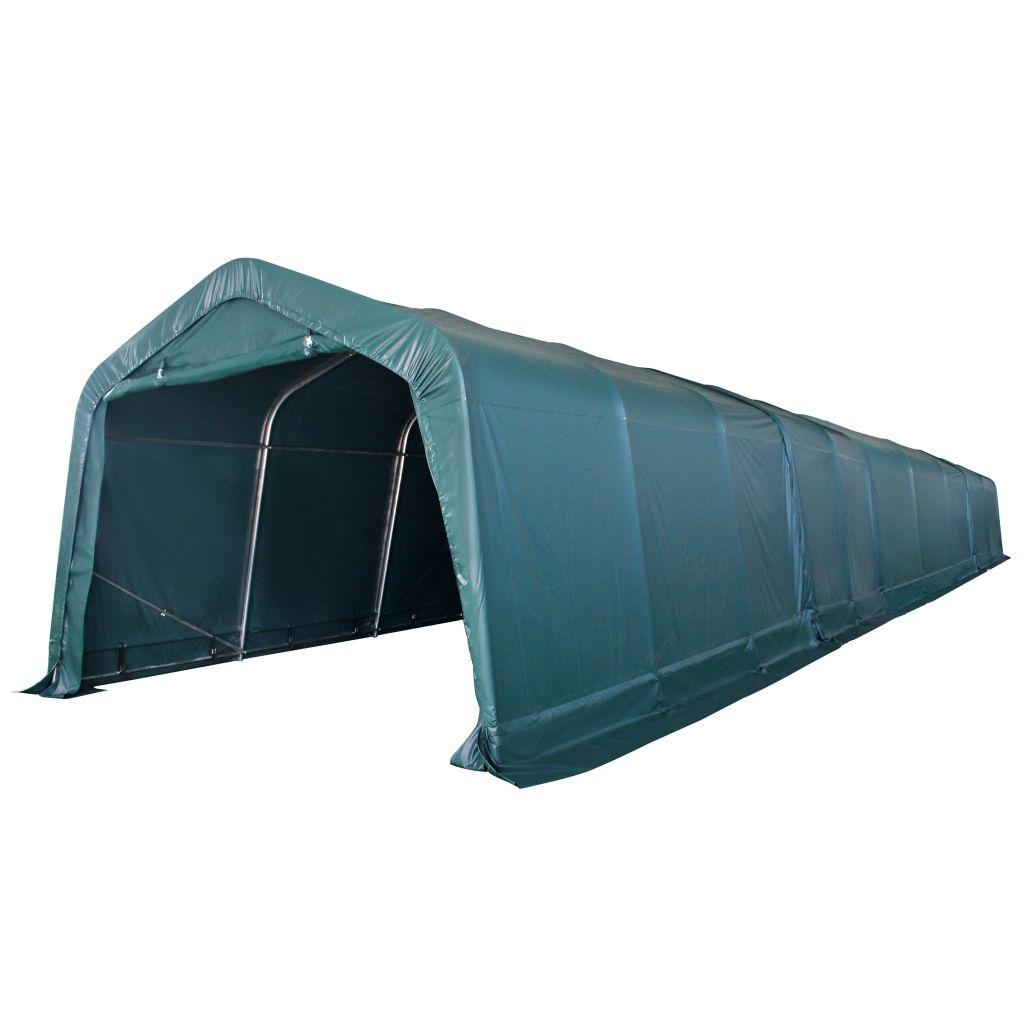 vidaXL Prenosný stan pre hospodárske zvieratá, PVC, 3,3x16 m, tmavozelený