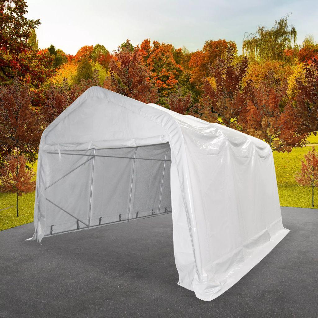 vidaXL Skladovací stan, PVC, 4x6 m, biely