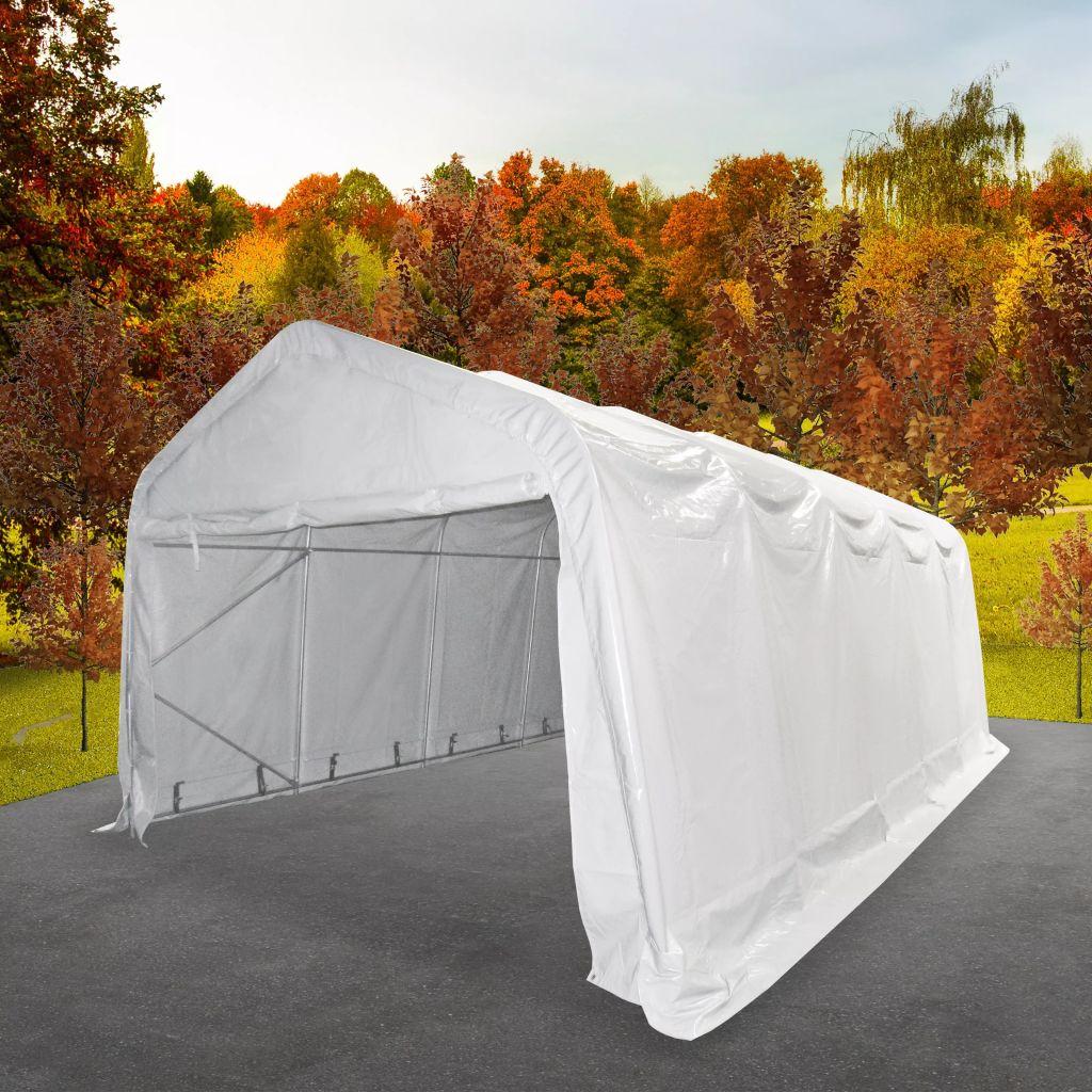 vidaXL Skladovací stan, PVC, 5x10 m, biely
