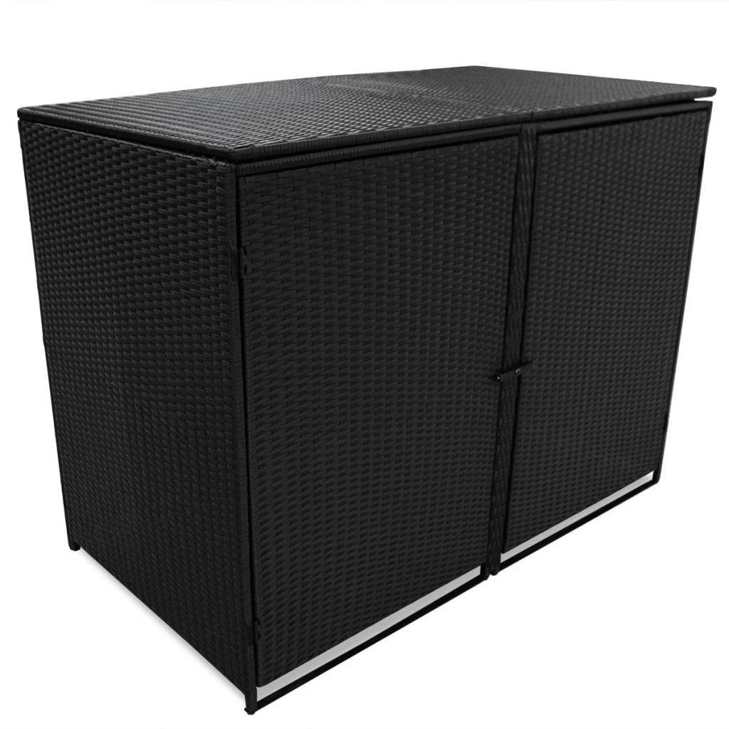 vidaXL Polyratanová ohrada na dva vonkajšie odpadkové koše, čierna 148x80x111 cm