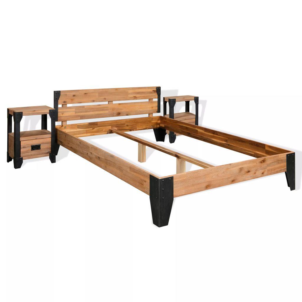 vidaXL Rám postele s 2 nočnými stolíkmi, akáciové drevo, oceľ, 180x200 cm