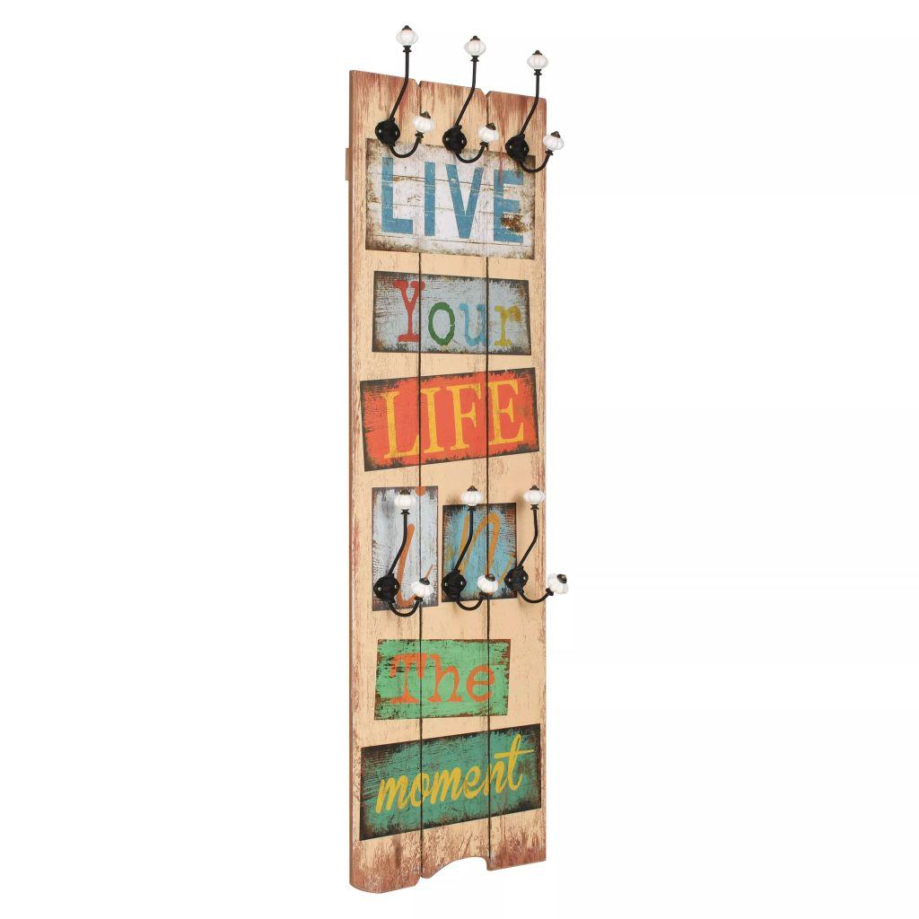 vidaXL Nástenný vešiak na kabáty so 6 háčikmi, 120x40 cm, LIVE LIFE