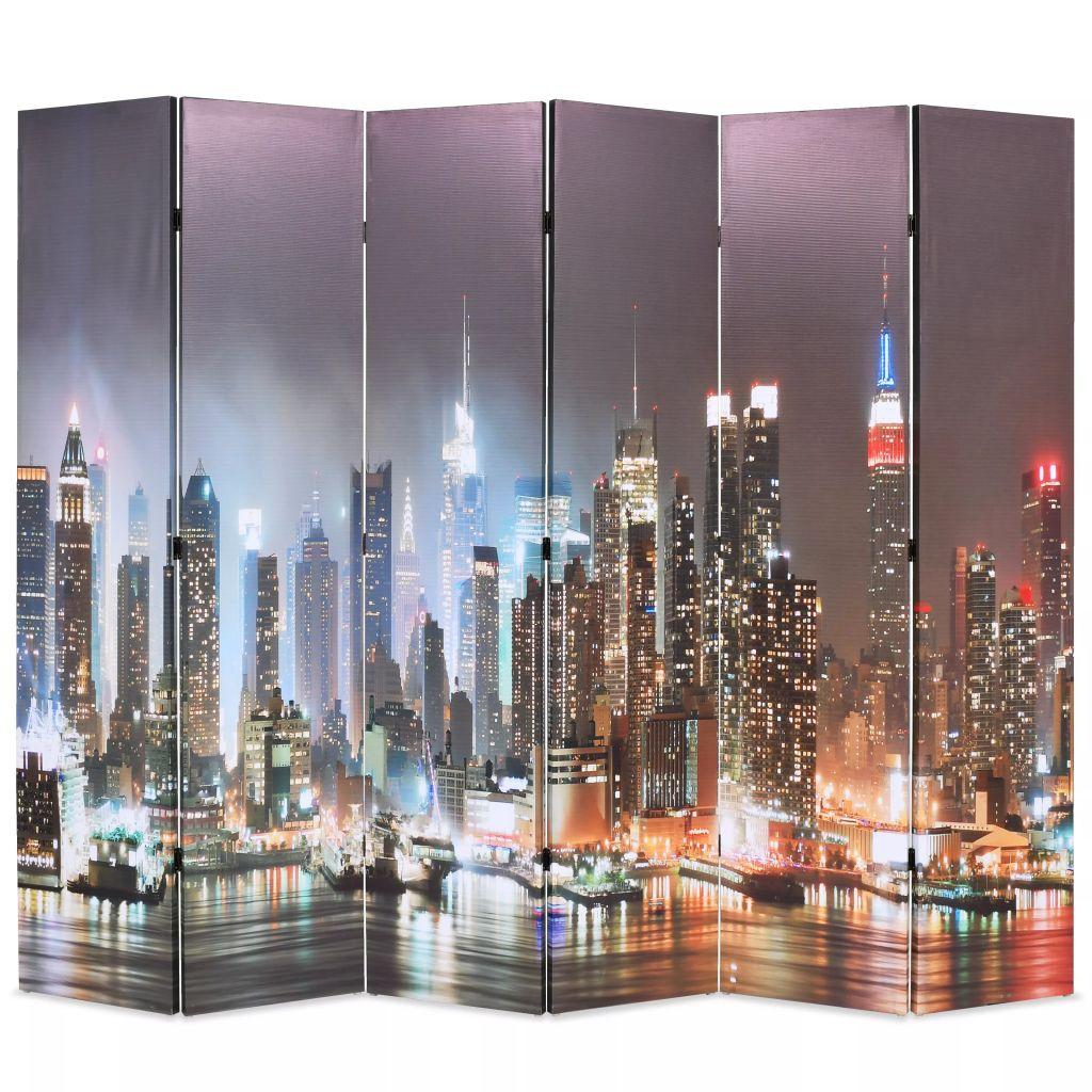 vidaXL Skladací paraván 228x180 cm, potlač nočného New Yorku