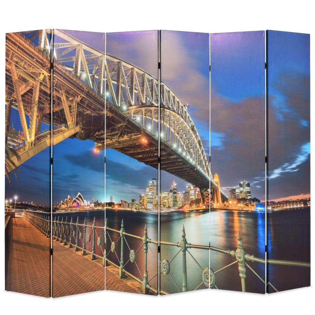 vidaXL Skladací paraván, 228x180 cm potlač s mostom v Sydney