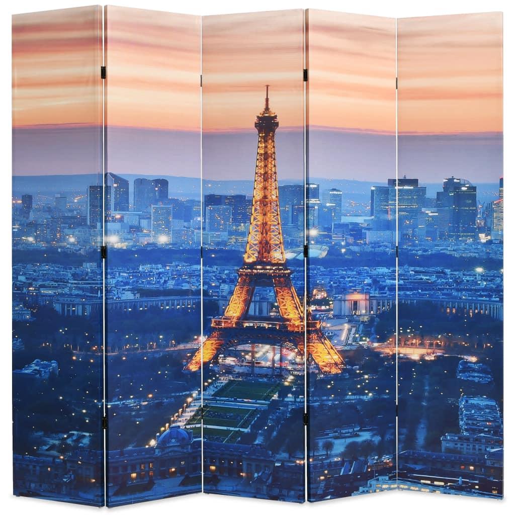 vidaXL Skladací paraván, 200x180 cm, potlač nočného Paríža