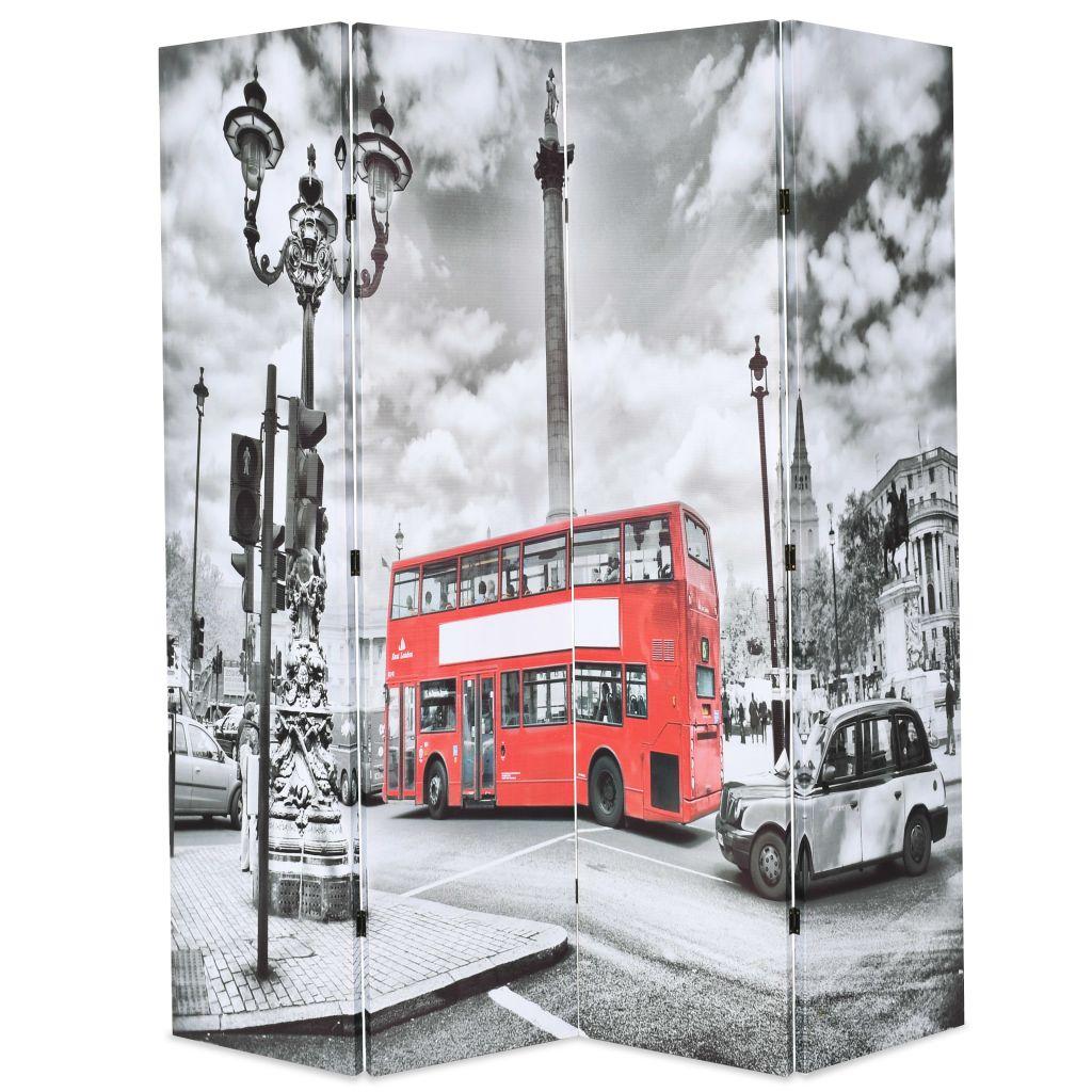 vidaXL Skladací paraván, 160x180 cm, potlač londýnsky autobus, čiernobiely