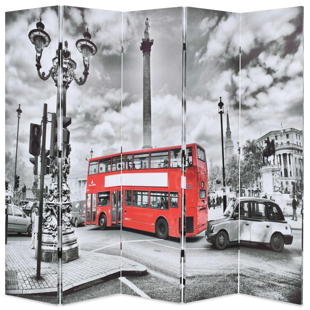 vidaXL Skladací paraván, 200x180 cm, potlač londýnsky autobus, čiernobiely