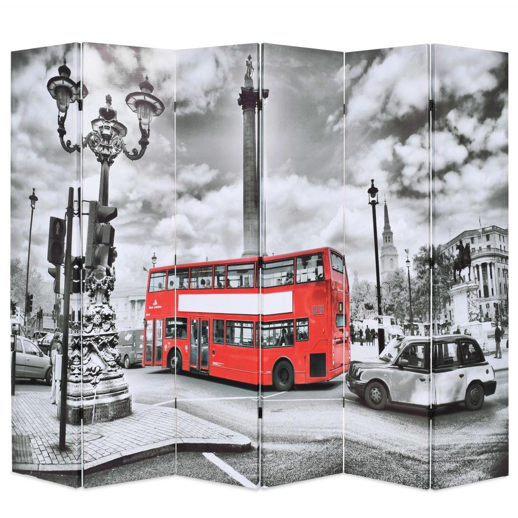 vidaXL Skladací paraván, 228x180 cm, potlač londýnsky autobus, čiernobiely