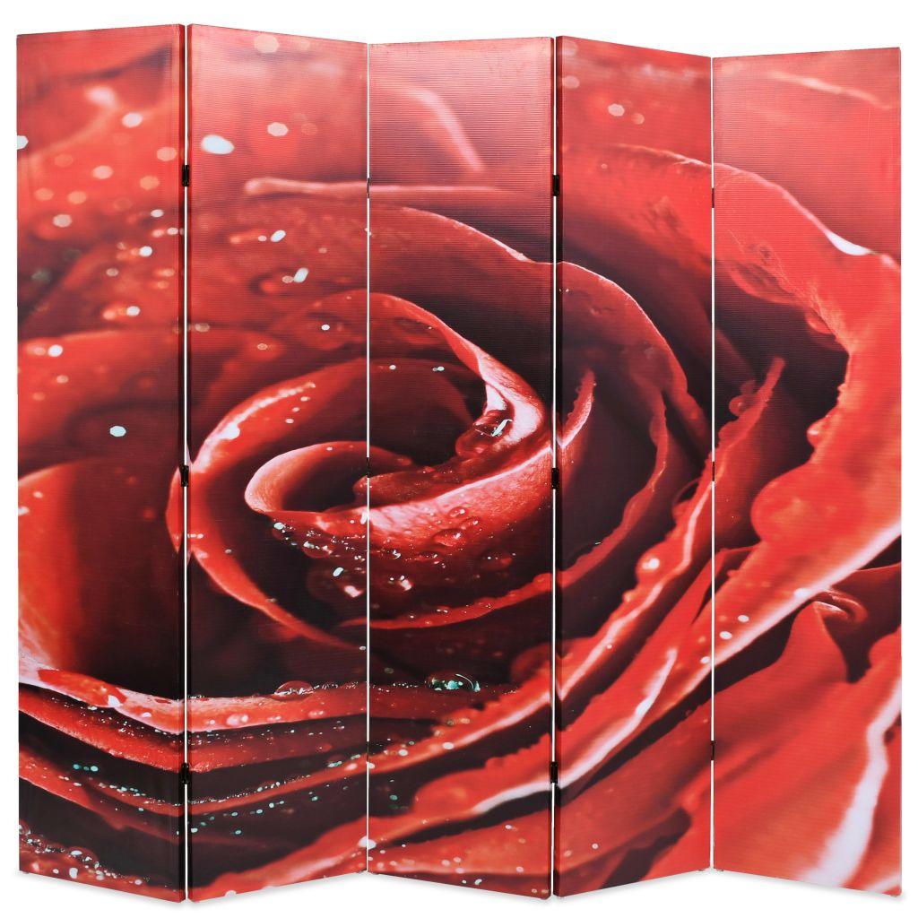 vidaXL Skladací paraván 200x180 cm, červená ruža