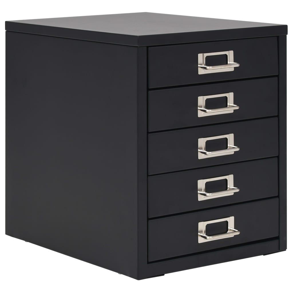 vidaXL Kovová kartotéka s 5 zásuvkami 28x35x35 cm čierna