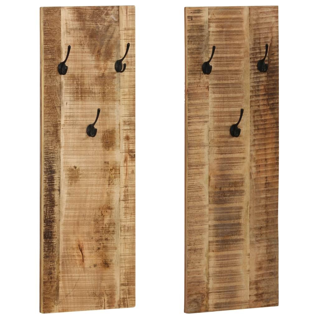 vidaXL Nástenný vešiak na kabáty 2 ks mangovníkové drevo 36x110x3 cm