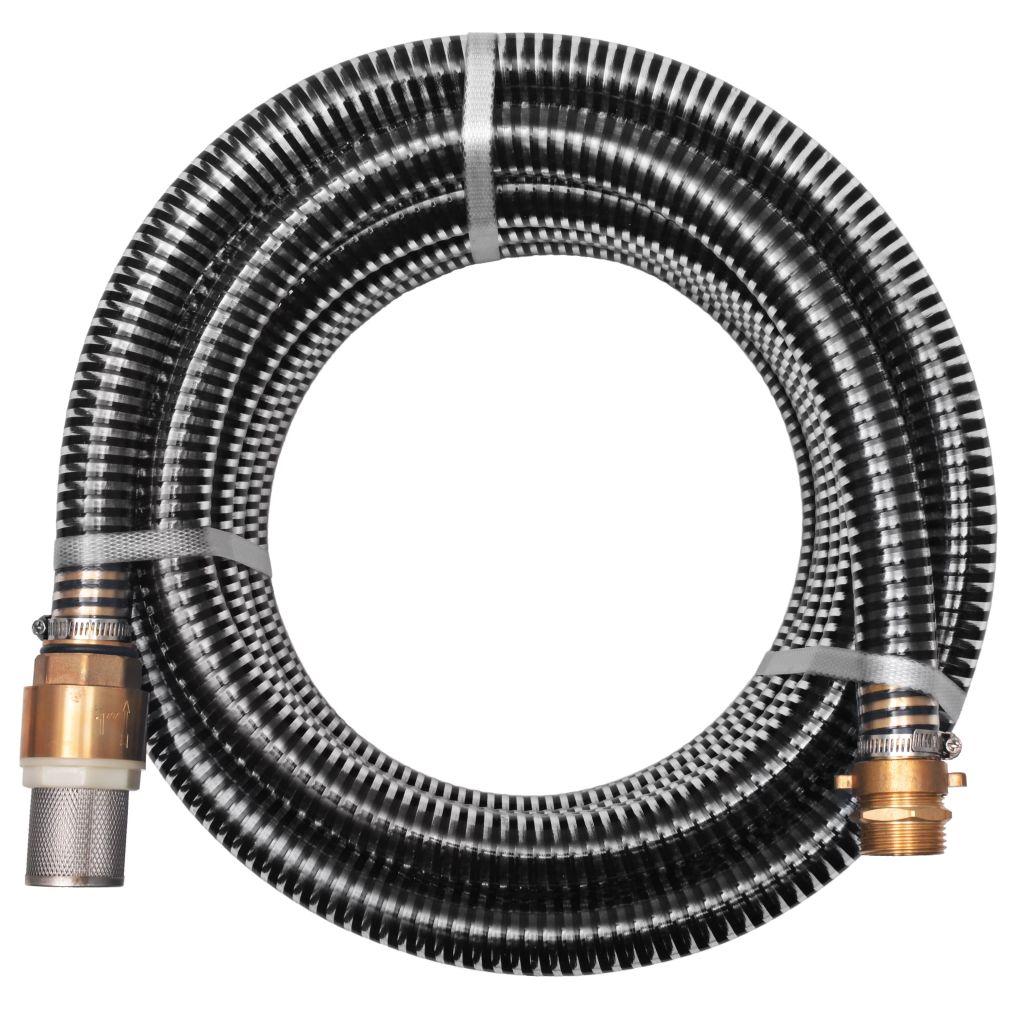 vidaXL Sacia hadica s mosadznými spojkami, 7 m, 25 mm, čierna