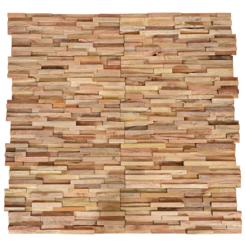 vidaXL Nástenné 3D obkladové panely z teakového dreva, 10 ks, 1 m²