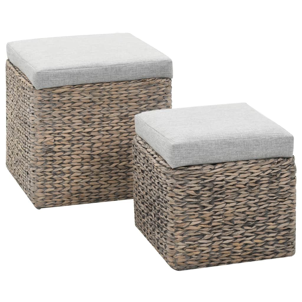 vidaXL 2-dielna sada taburetiek z morskej trávy sivá