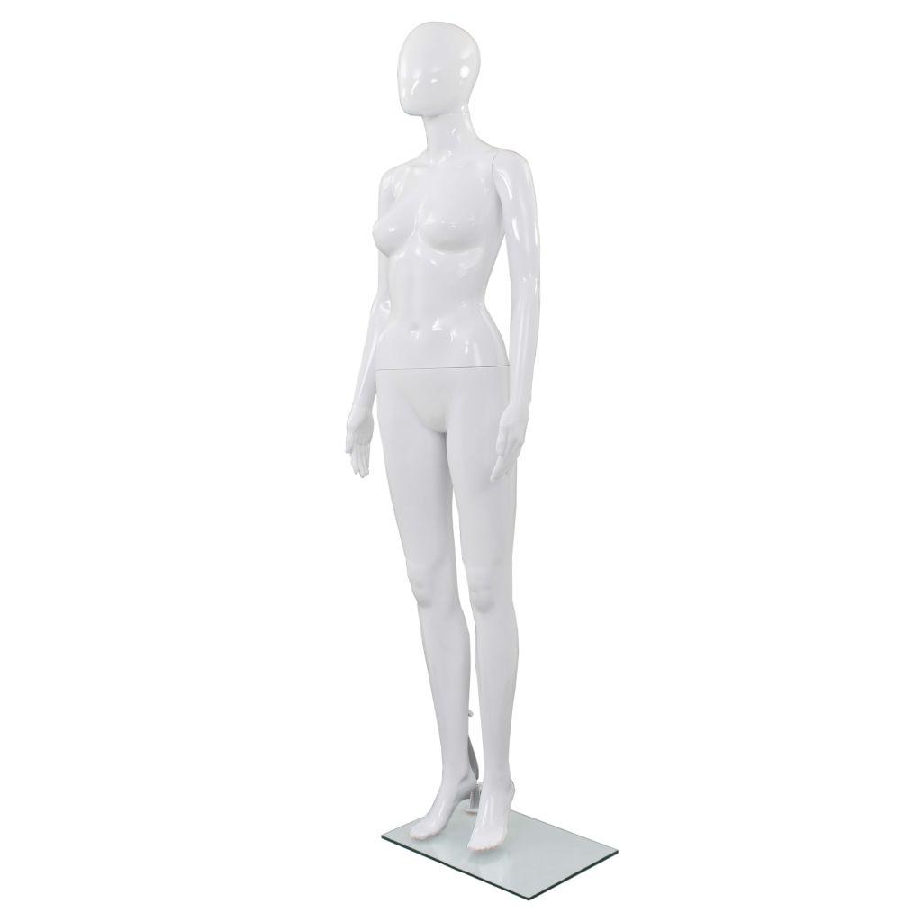 vidaXL Dámska figurína, sklenený podstavec, lesklá biela 175 cm