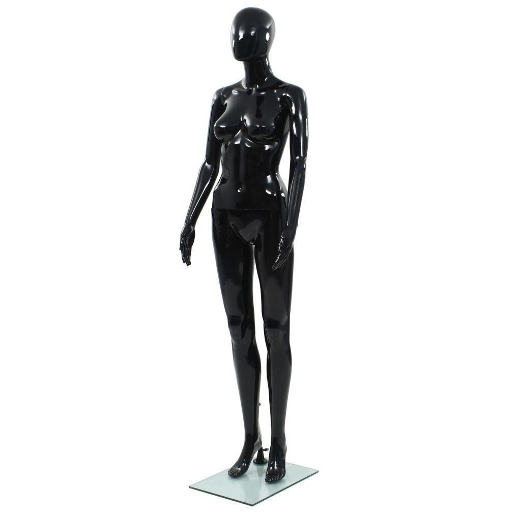 vidaXL Dámska figurína, sklenený podstavec, lesklá čierna 175 cm
