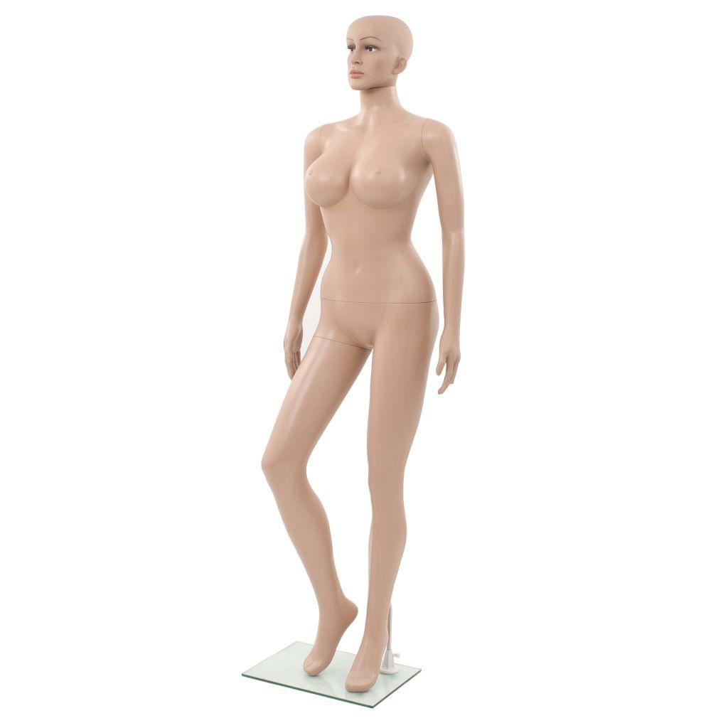 vidaXL Sexy dámska figurína so skleneným podstavcom, béžová 180 cm