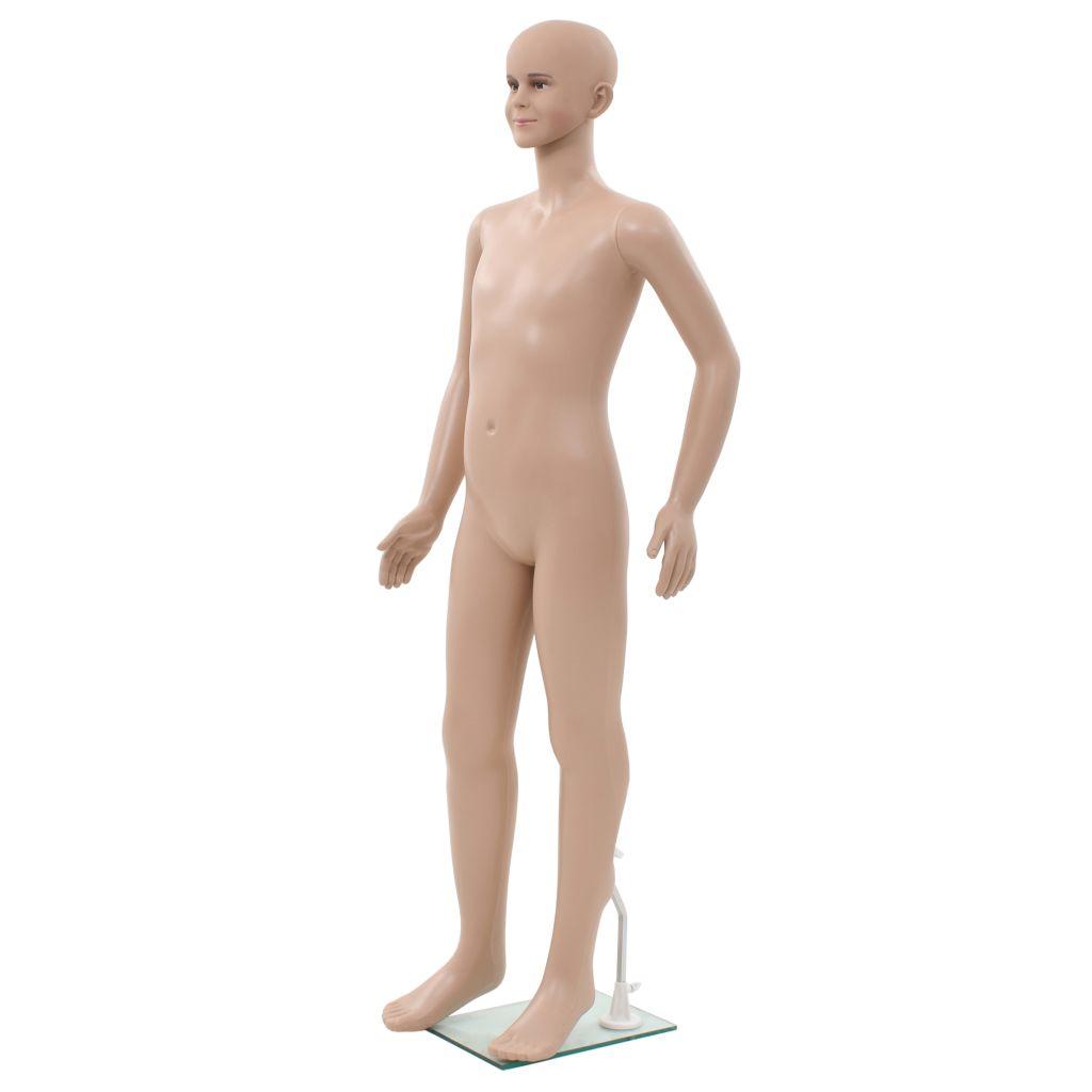 vidaXL Detská figurína, sklenený podstavec, béžová 140 cm