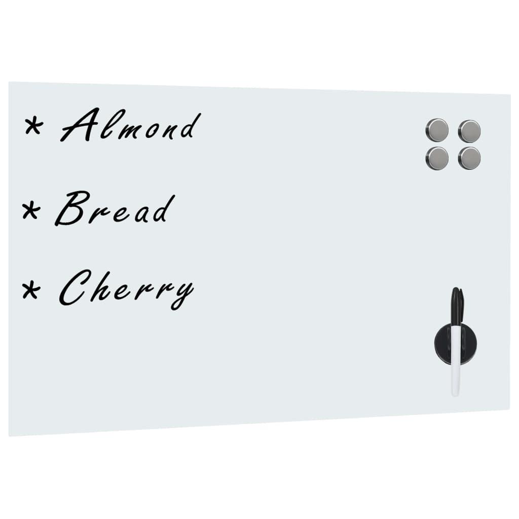 vidaXL Nástenná magnetická tabuľa, biela, sklenená 60x40 cm