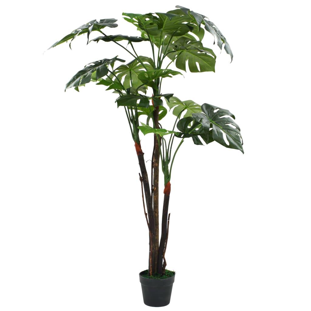 vidaXL Umelá rastlina monstera s kvetináčom, 130 cm, zelená