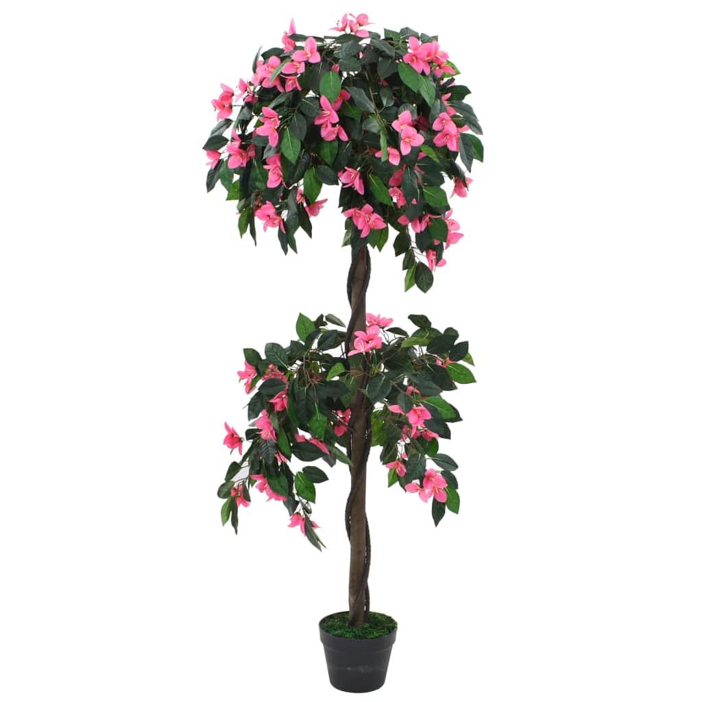 vidaXL Umelá rastlina, rododendrón s kvetináčom 310 cm zelená a ružová