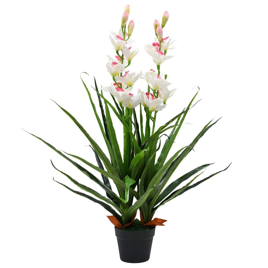 vidaXL Umelá rastlina, cymbídia s kvetináčom 100 cm zelená
