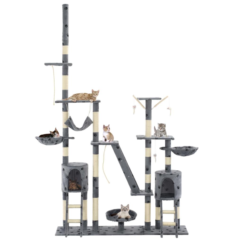 vidaXL Škrabadlo pre mačky so sisalovými stĺpikmi 230-250 cm sivé s labkami a66925e3b04