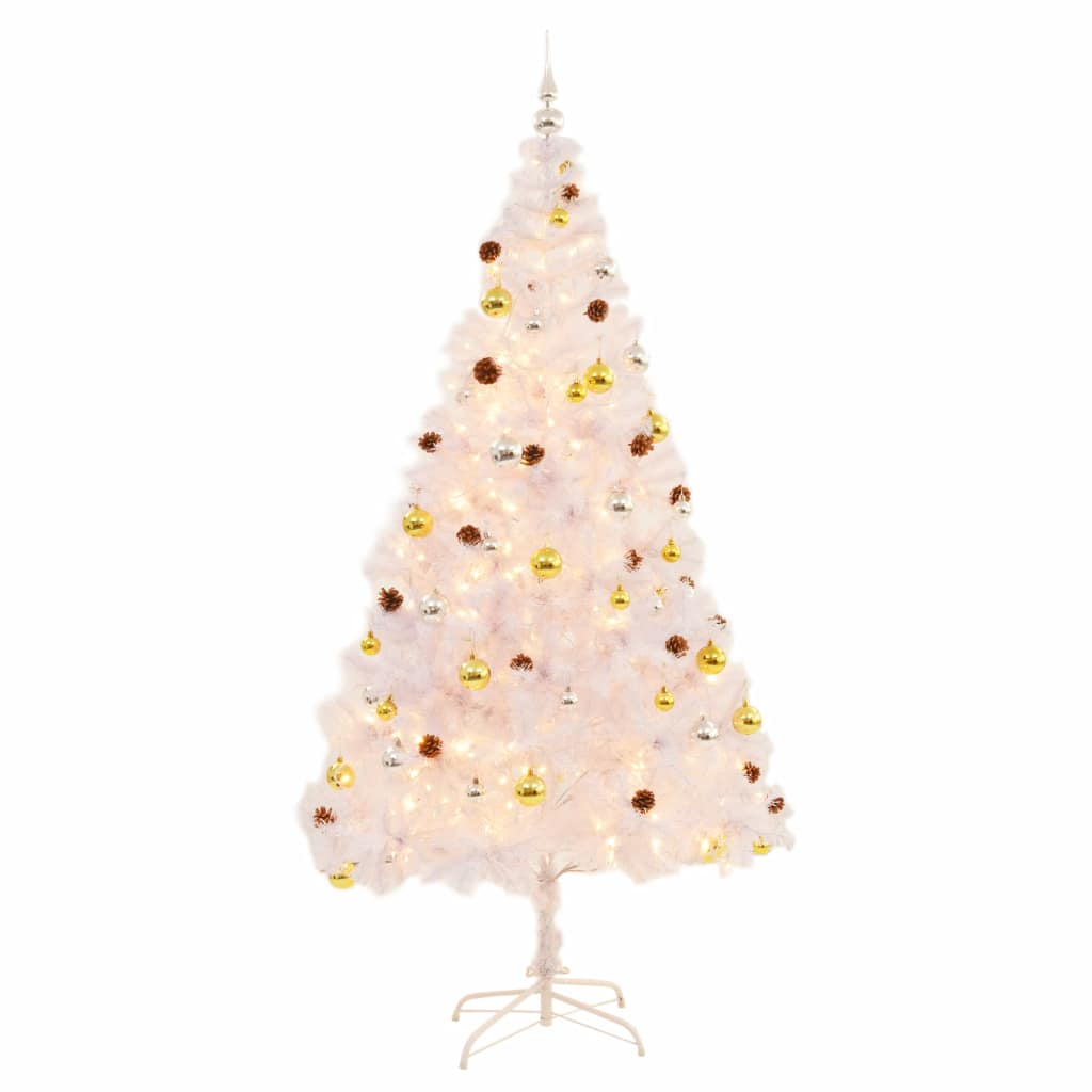 vidaXL Umelý vianočný stromček s ozdobami a LED diódami 210 cm biely