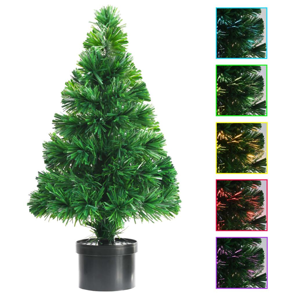 vidaXL Umelý vianočný stromček s optickým vláknom zelený 64 cm