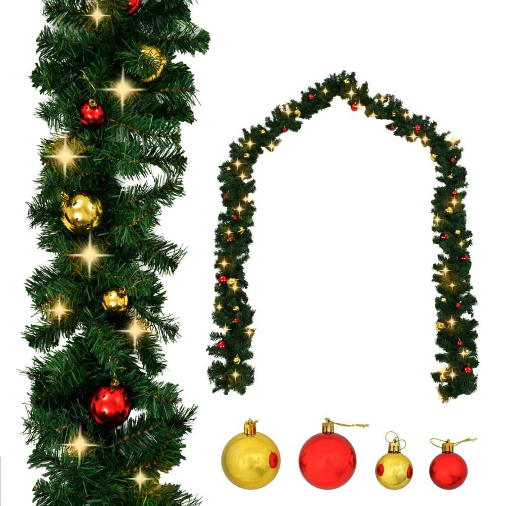 vidaXL Vianočná girlanda s ozdobami a LED svetielkami 10 m