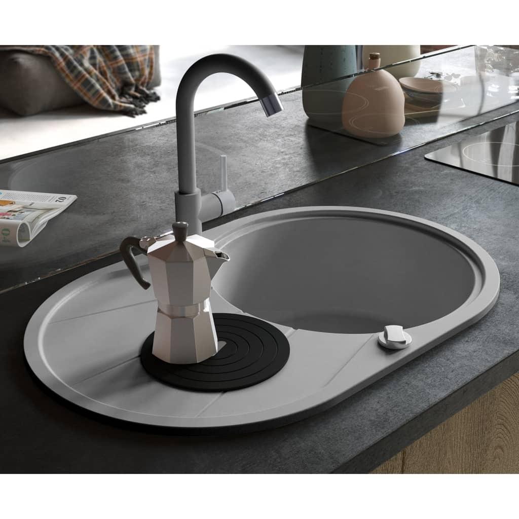 vidaXL Granitový kuchynský drez s jednou vaničkou, oválny, sivý
