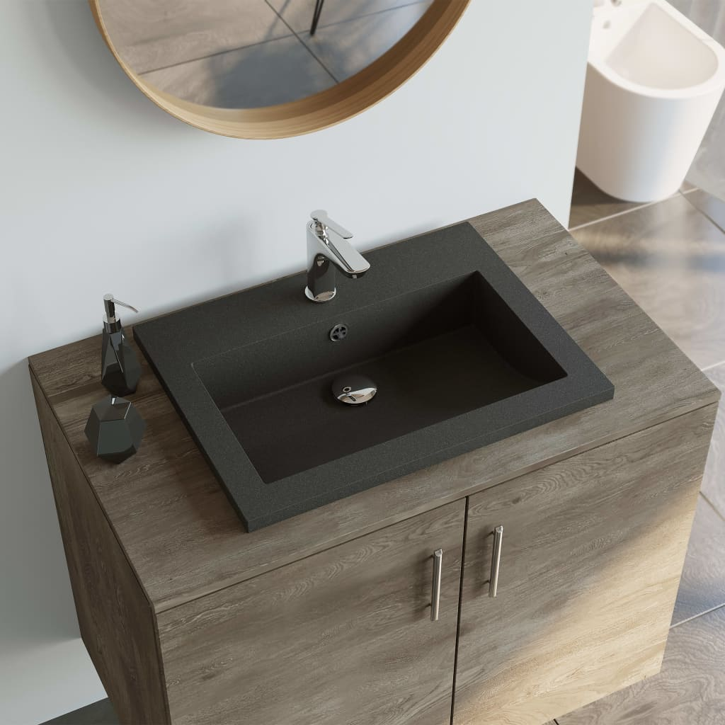 vidaXL Granitové umývadlo 600x450x120 mm čierne