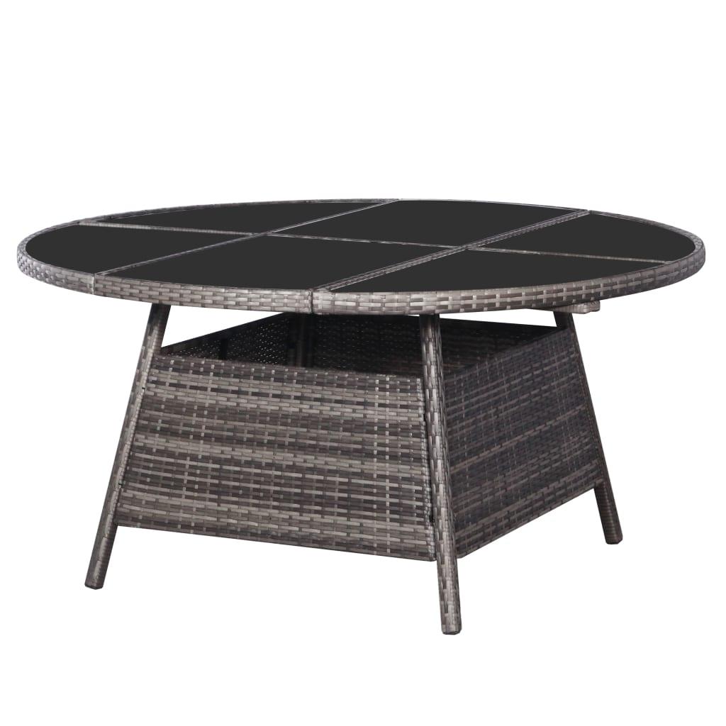 vidaXL Záhradný stôl sivý 150x74 cm polyratanový