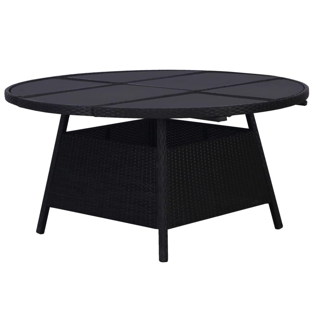 vidaXL Záhradný stôl čierny 150x74 cm polyratanový