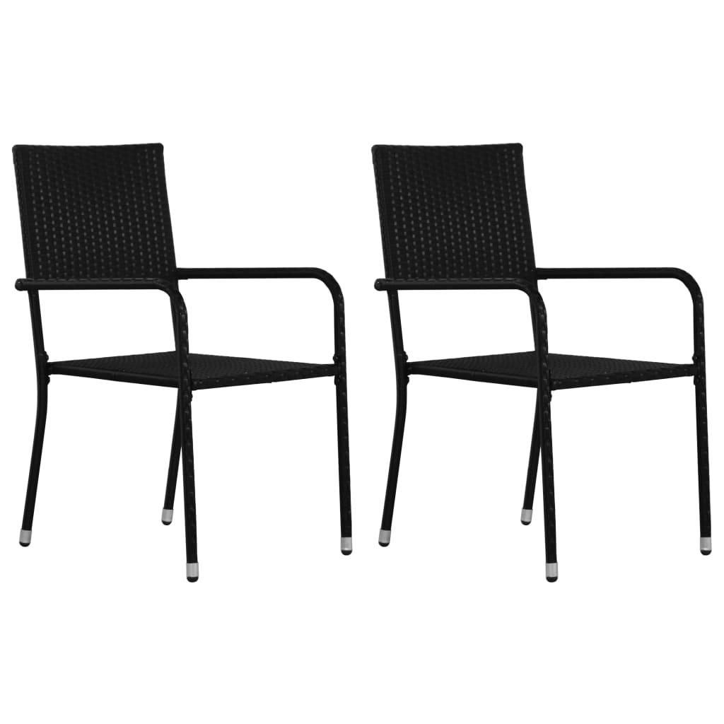 vidaXL Vonkajšie jedálenské stoličky 2 ks čierne polyratanové