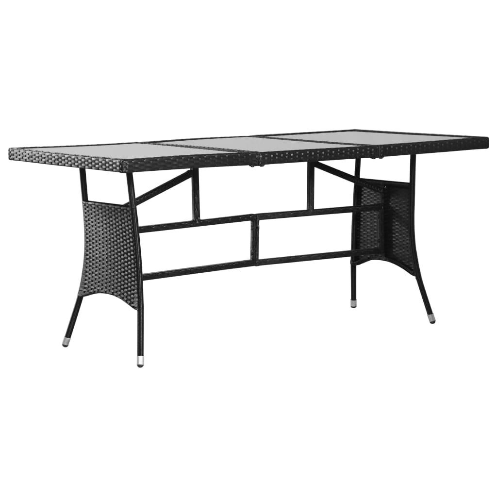 vidaXL Záhradný stôl čierny 170x80x74 cm polyratanový