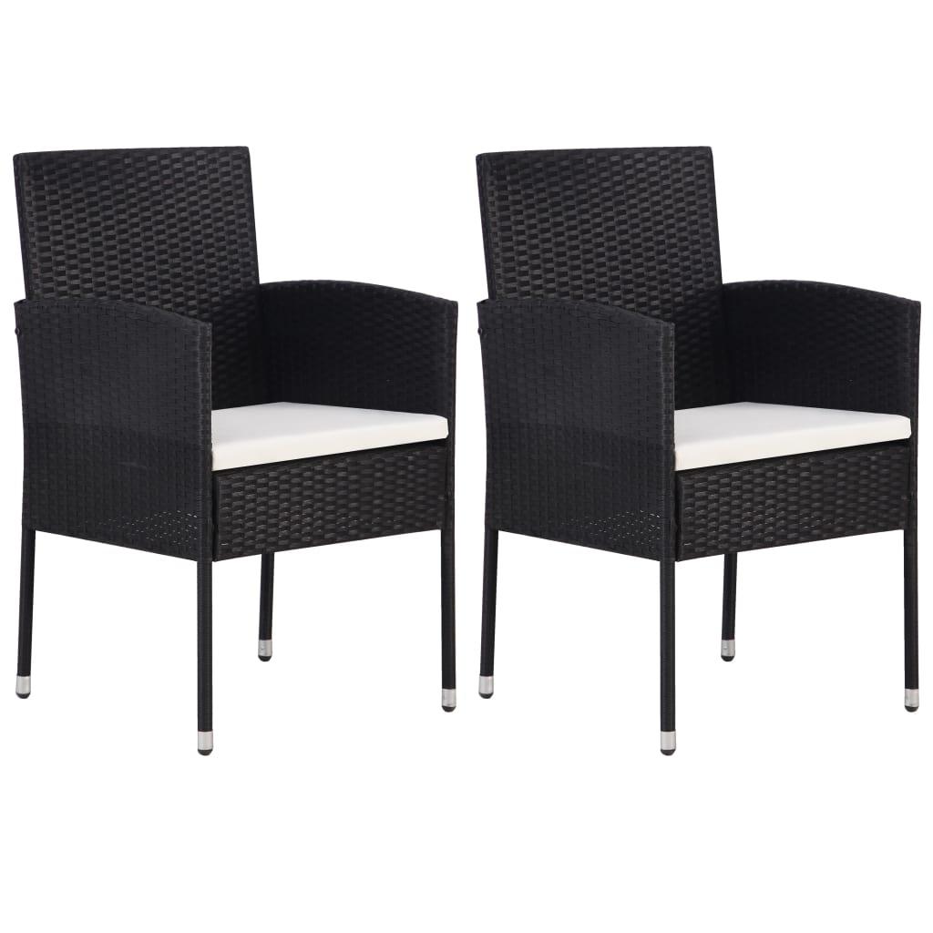 vidaXL Záhradné stoličky 2 ks čierne polyratanové